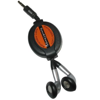 Navíjecí sluchátka 3,5 mm - černo-stříbrná 95 cm
