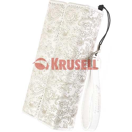 Kožené pouzdro Krusell Divine Medium - bílé